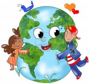 11557801-deux-enfants-embrassant-une-planete-heureuse-300x283